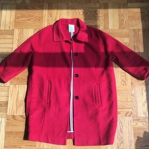 Bright Red Anthro Car Coat